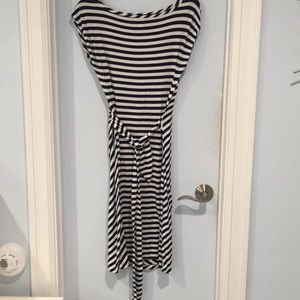 Navy blue white striped dress with ruched tie back